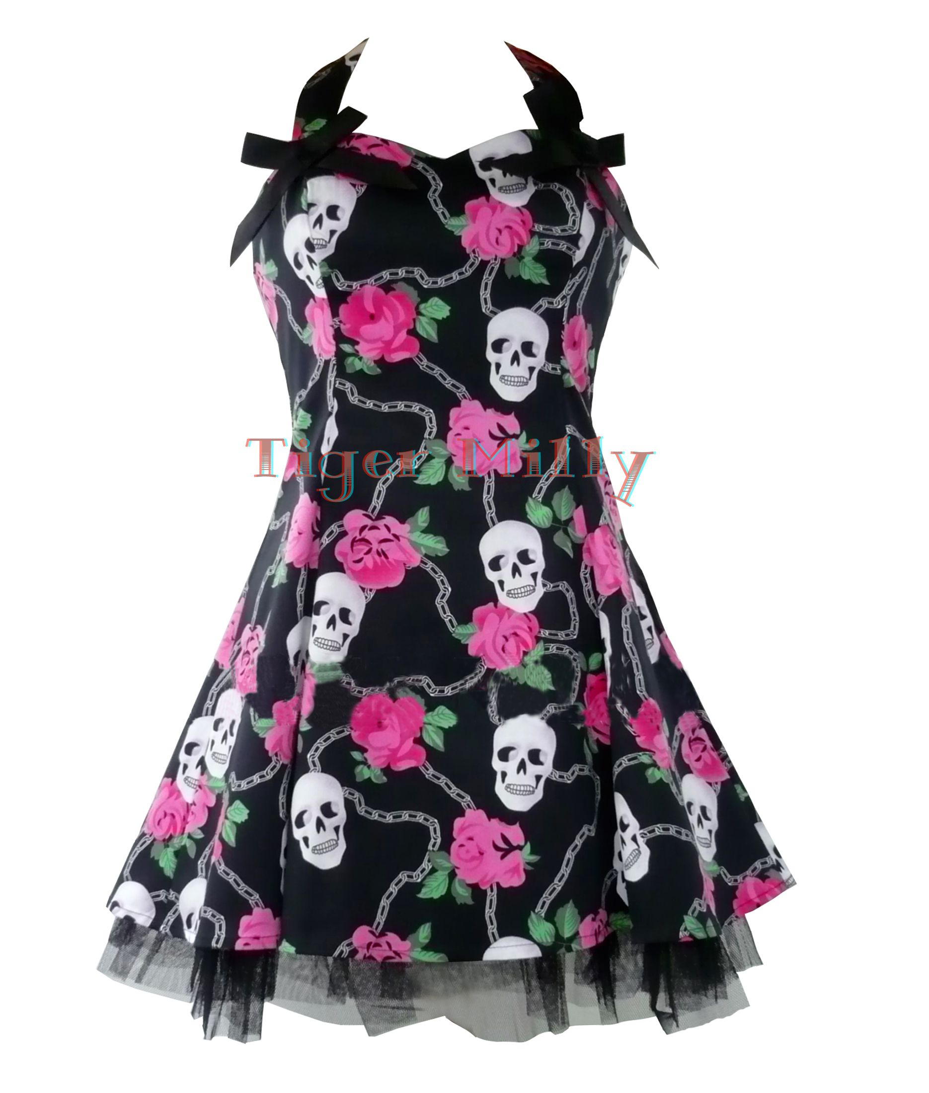 H r london goth skull rose mini dress emo black uk size - Emo rose pictures ...