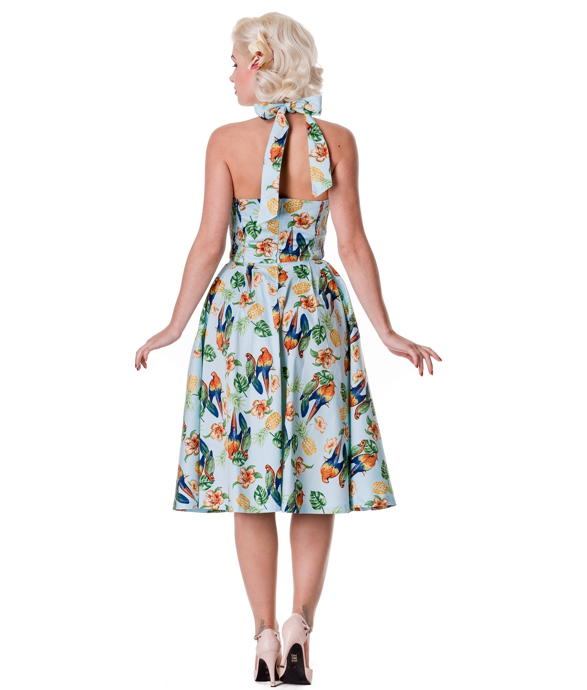 HELL BUNNY 50's vintage SASSY tropical bird rockabilly DRESS BLUE