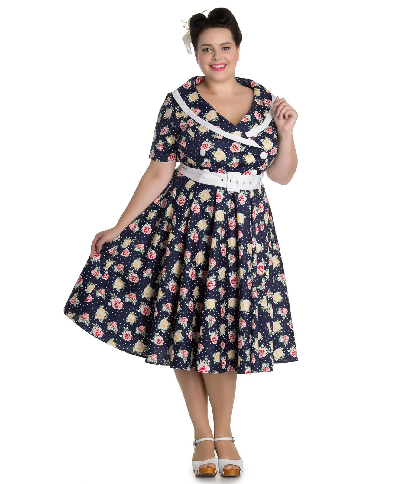Hell Bunny 50 39 S Emma Vintage Style Floral Polka Dot Dress