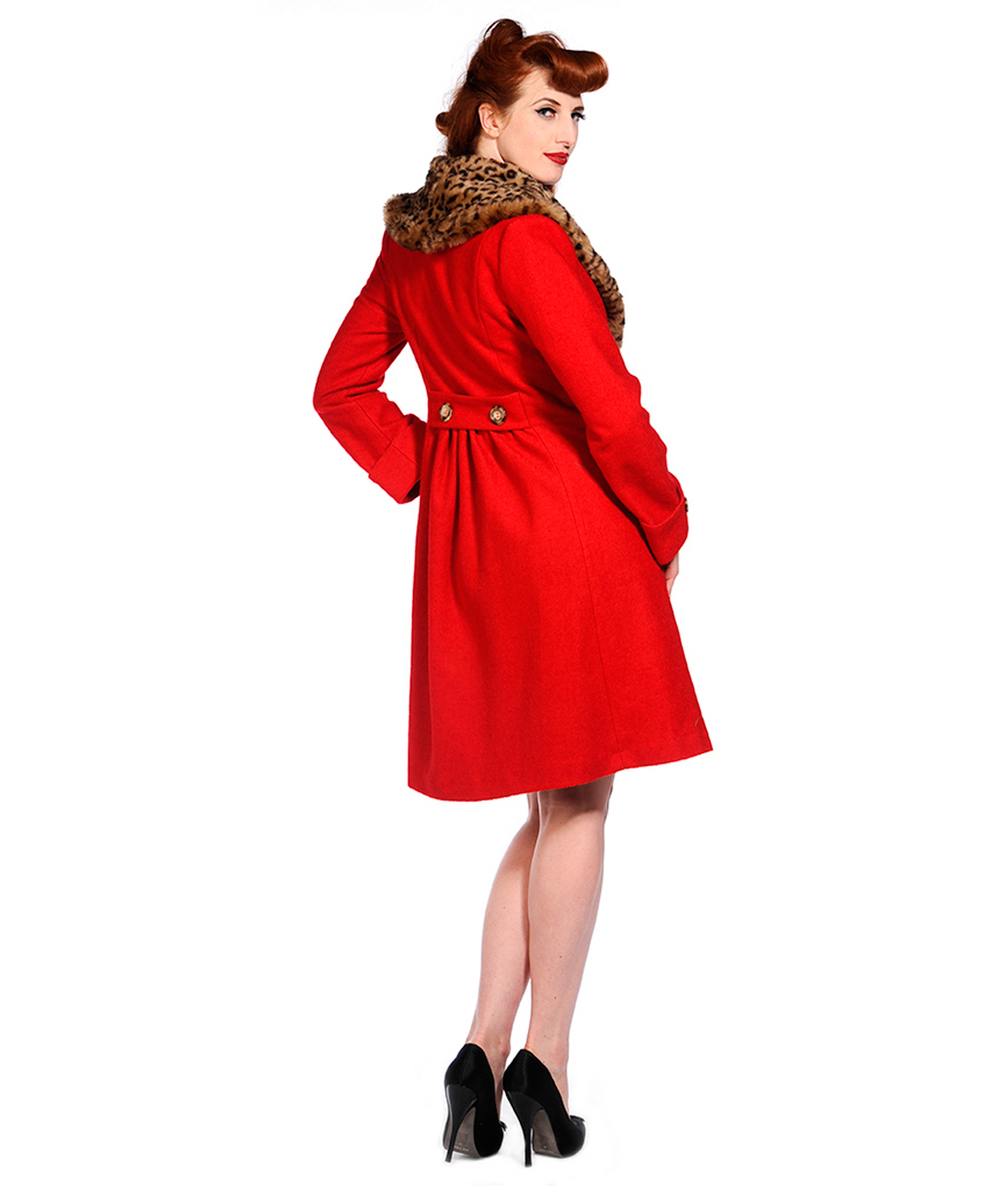 Banned Vintage Style Leopard Collar Wool Mix Red Coat