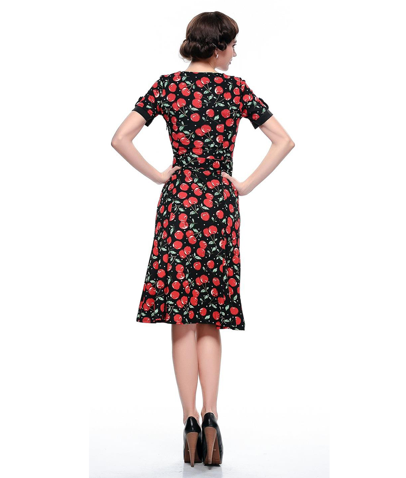 Poisoned 40s 50s Vintage Style Cherry Print A Line Dress