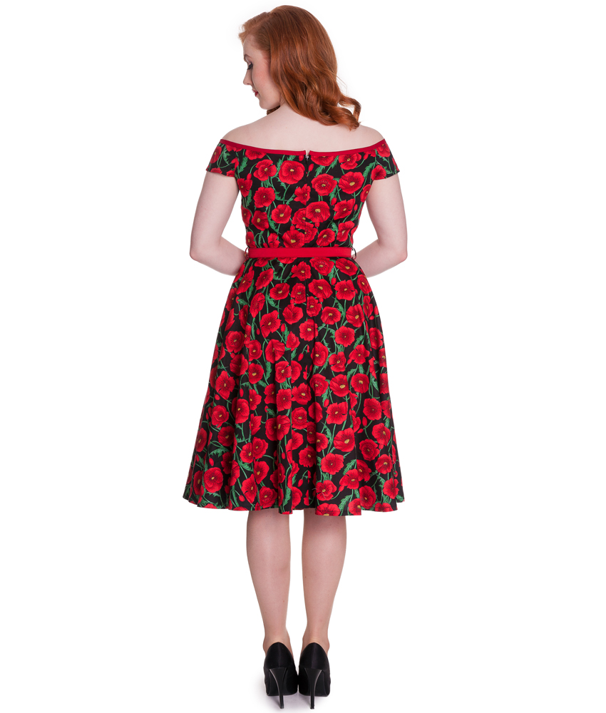 HELL BUNNY 50's vintage CORDELIA poppy floral DRESS RED