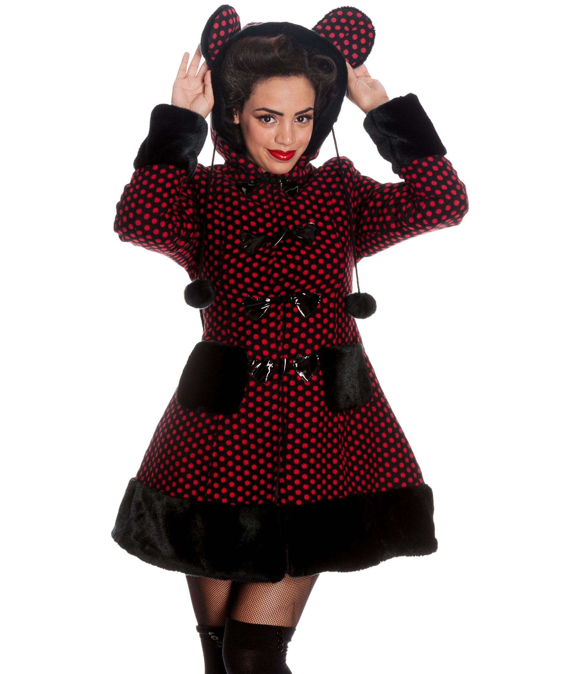 HELL BUNNY WINTER COAT MIKA ears POLKA DOT BLACK RED