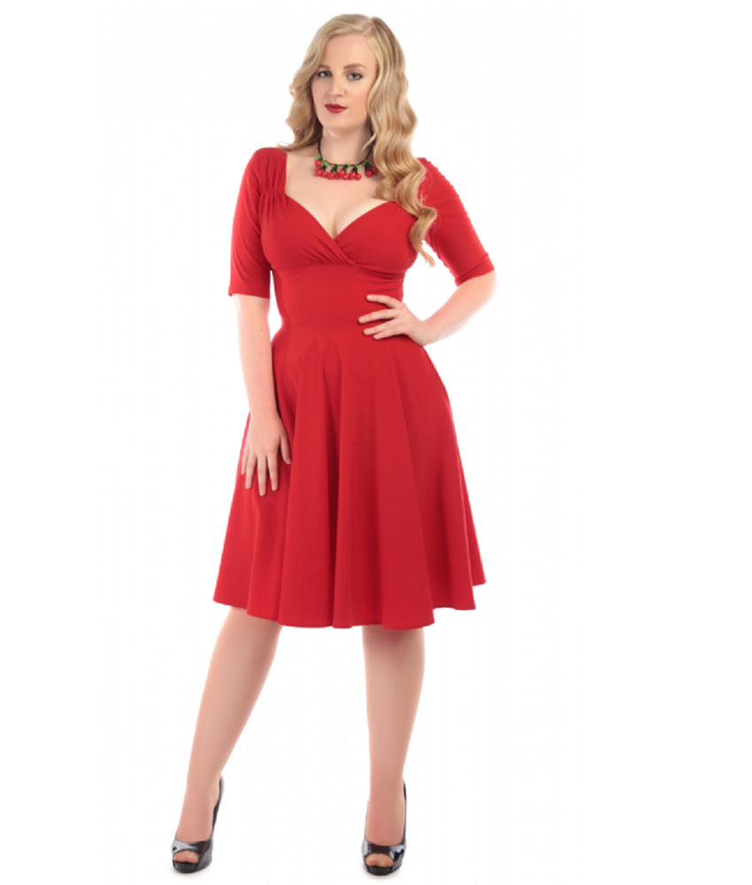 Collectif 40s Vintage Style Trixie Red Swing Dress