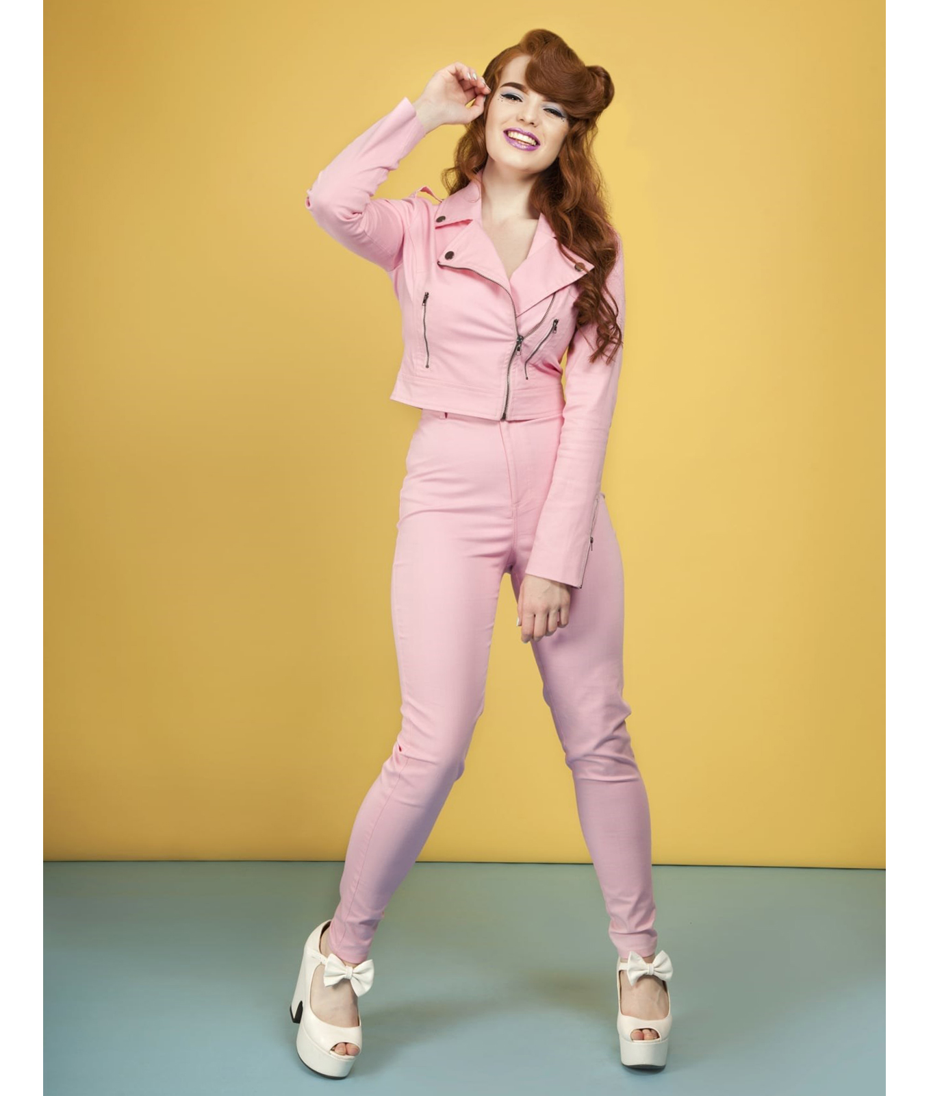 Collectif Maddie Pink 50s Vintage Style Tight Jeans