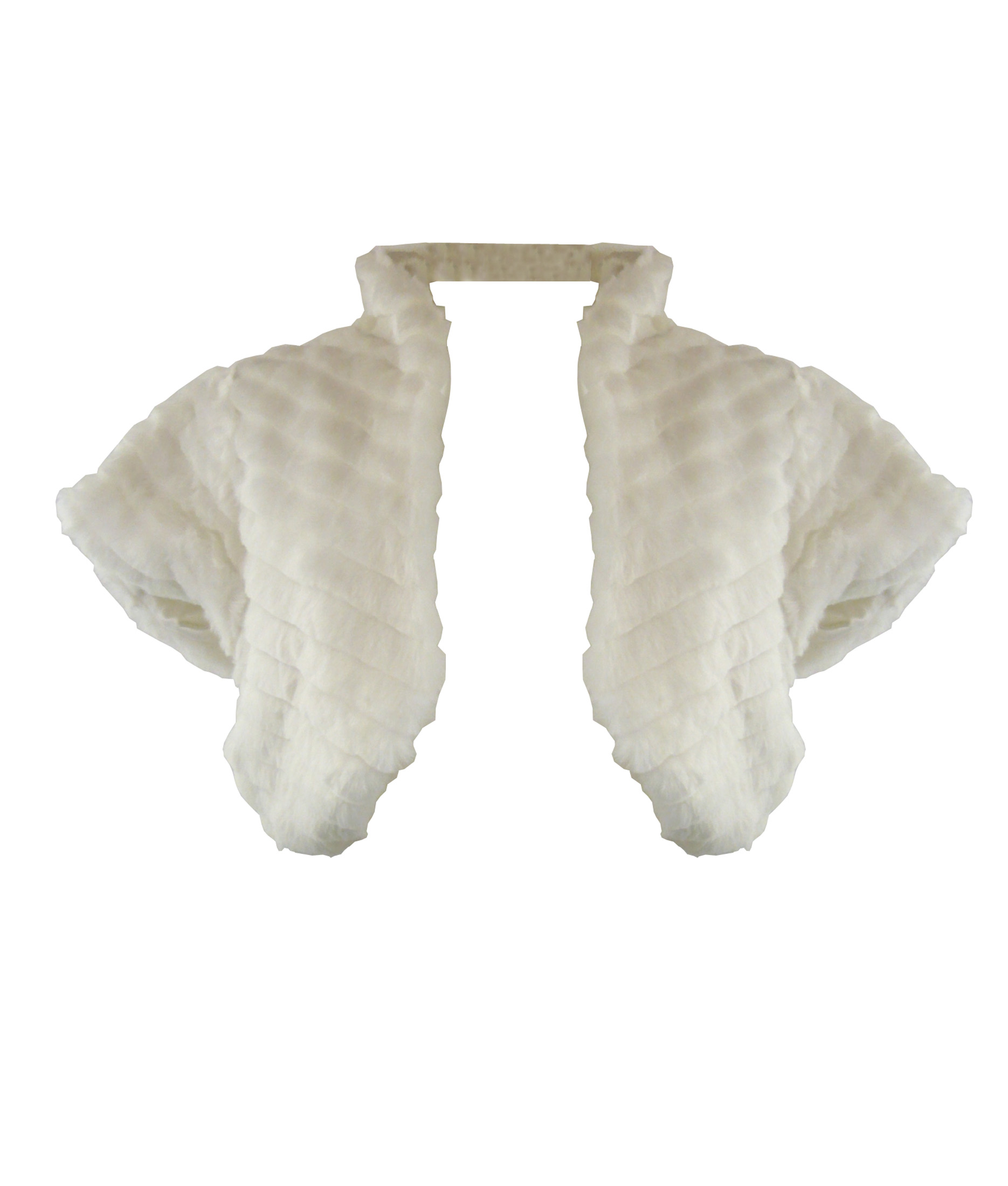 LADIES evening party CHISELLED faux FUR SHRUG bolero jacket CREAM